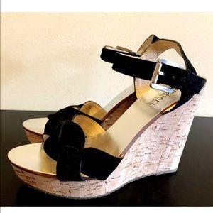 Michael Kors Leather Cork Wedge Sandal Heels